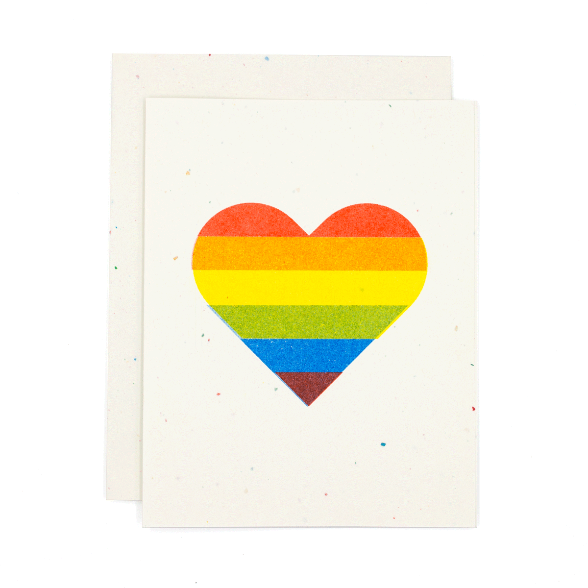 Rainbow Pride Heart Risograph Card