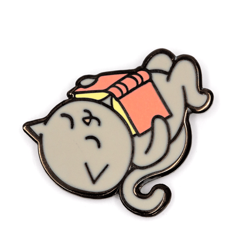 Reading Cat Pin