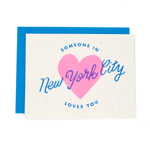 Someone In New York City Loves You Risograph Card