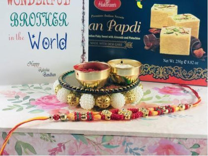 Multicolor Gems & Beads Rakhi with Soan Papdi - USA