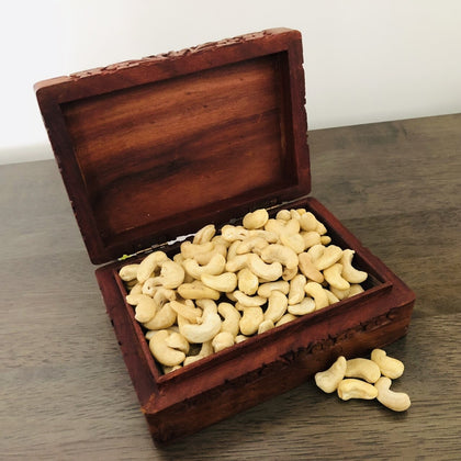 Wooden Handmade Carved Box with Cashew Nuts - FOR AUSTRALIA