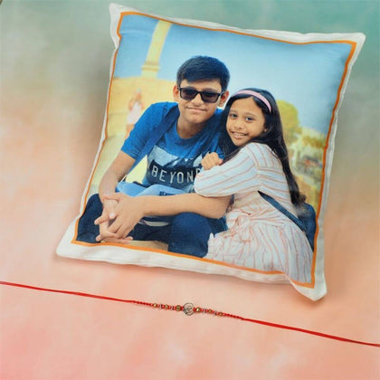 Ik Onkar Rakhi With Personalized Cushion - FOR AUSTRALIA