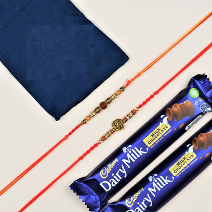 Rudraksh and Lion Rakhi with Chocolates - FOR NEW ZEALAND