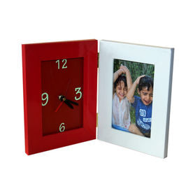 4x6 Folded Clock Frame with custom image of two colors white and red color frame  - Expressluv.in