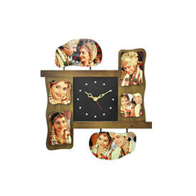 6 Photo Wall Clock with 6 custom images on it  - Expressluv.in