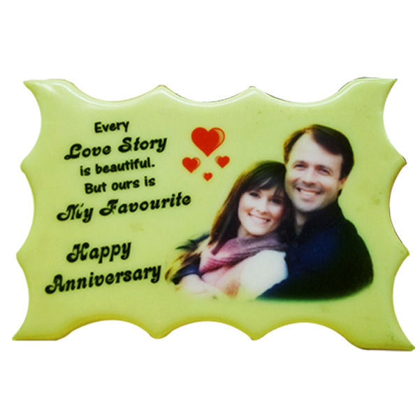 5x7 Radium Curve Color Engraving frame with a custom image on it with red hearts and beautiful letters  - Expressluv.in