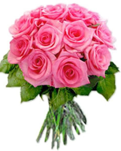 12 Pink Roses Bunch, beautiful bunch of 12 pink color roses - Expressluv.in