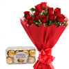 Combo of Roses Bunch and Ferrero Rocher 16 pc