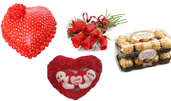 Heart Cake, Teddy Toy, Ferrero Rocher 16 pc, Roses Bunch