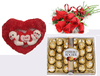 Ferrero Rocher 24 pc, Roses Bunch, Teddy Toy