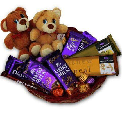 Chocolate Basket and Teddies