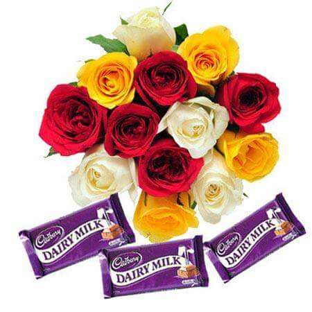 Multi Roses Bunch and Chocolates