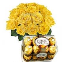 Ferrero Rocher 16 pc, Yellow Roses Bunch  - Expressluv.in