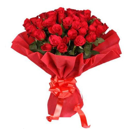 Red Roses Bunch with Paper Wrap  - Expressluv.in
