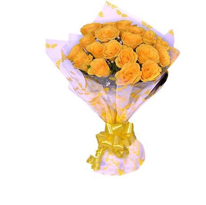20 beautiful Yellow Roses Bouquet with a cute packing of white color and a yellow ribbon - Expressluv.in