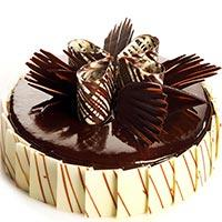 Chocolate Delight cake, round shape full chocolaty cake with beautiful and yummy topping on the top of the cake order and gift someone  - Expressluv.in