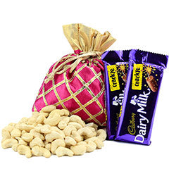 a beautiful combo of 2 dairy milk pack and Cashew nuts to gift someone  - Expressluv.in