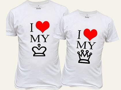 King n Queen, my king and queen t-shirt design, best white color t-shirt for couples  - Expressluv.in
