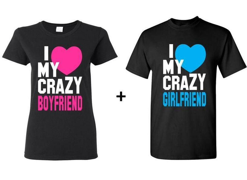 Crazy BF n GF, GF BF T-shirt Stylish gift someone order now  - Expressluv.in