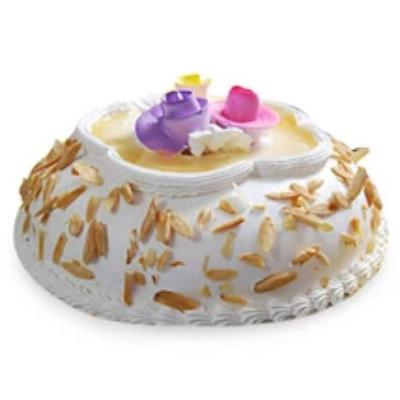 Almond Cake of round shaped with white color beautiful almond cake  - Expressluv.in