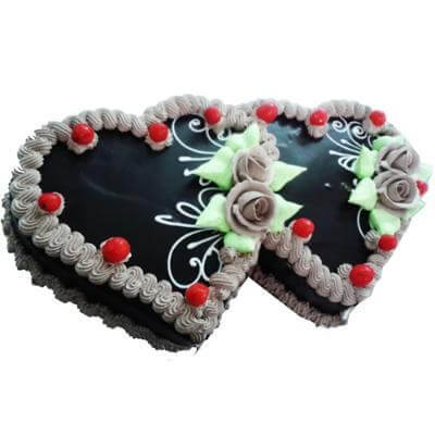 Chocolate Cake in Heart Shape - Twin Heart Chocolate Cake - 3kgs