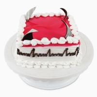 delicious Cake Delight with rectangle shaped pink colored yummy cake  - Expressluv.in