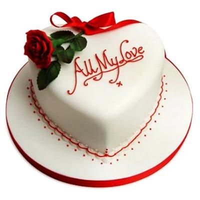 All My Love white color heart shaped cake with red and green color rose and petal designs  - Expressluv.in