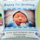 a beautiful pillow for birthday invitation for a special person with a custom image on the pillow of a child  - Expressluv.in