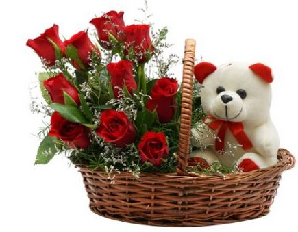 Red Roses Basket n Teddy  - Expressluv.in