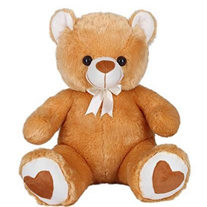 Soft Teddy Bear Brown 65cm, valentine teddy bear with heart shaped feet  - Expressluv.in