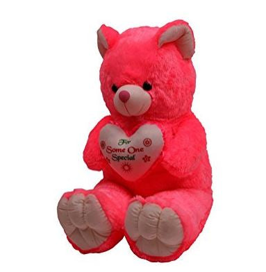 Giant Pink Teddy Bear 110 cm, pink teddy bear holding a heart for valentine's day  - Expressluv.in
