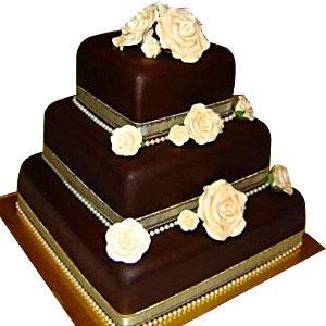 3 step cake chocolate cake online with white flowers with beautiful design rectangle shape 3 step cake   - Expressluv.in