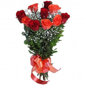 Orange and Red Roses with 10 Flowers bouquet