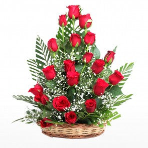 Red Roses Basket with 24 Roses  - Expressluv.in