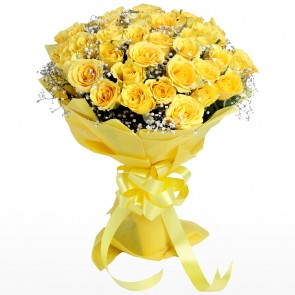 Yellow Roses Bunch with 35 Flowers  - Expressluv.in