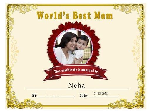 world's best Certificate for Mom, gift your mom this beautiful gift with a certificate  - Expressluv.in