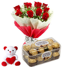 Combo of Flowers, Ferrero and Teddy  - Expressluv.in