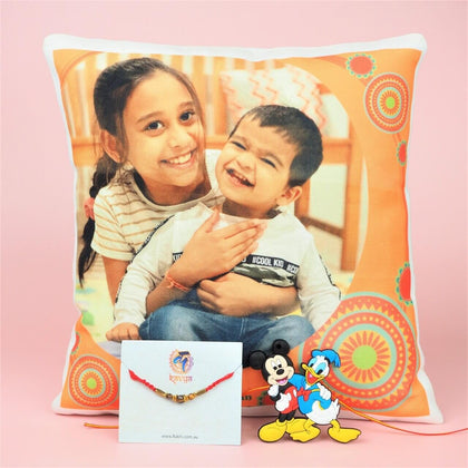 Kids and Stone Rakhi with Personalized Cushion - For Australia