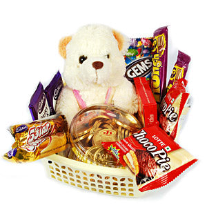 chocolate gift hamper and teddy bear combo  - Expressluv.in