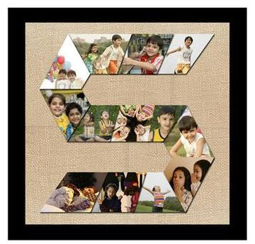 Alphabet Letter Photo Collage with custom images and a brown stripe outside the collage and rectangle shaped collage  - Expressluv.in