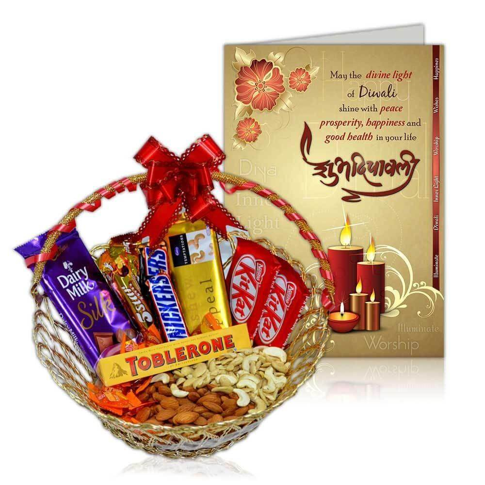 Choco Basket with dry fruits and Greeting card