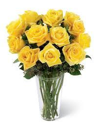 12 Yellow Roses Big Stem, A bunch of beautiful 12 yellow flowers with a vase gift someone - Expressluv.in