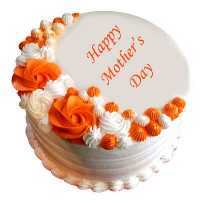 beautiful Cake for Mother's Day special with white colored round shaped cake and some beautiful orange and white colored flowers design on the top of cake - Expressluv.in