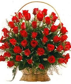 a beautiful round Basket full of red beautiful Roses to gift someone - Expressluv.in