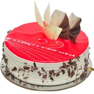 order red gel cake online it is a pink colored gel cake with choco chips design on it  - Expressluv.in