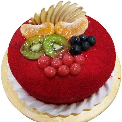 Assorted Cake with Fruits of red color yummy cake for birthday  - Expressluv.in