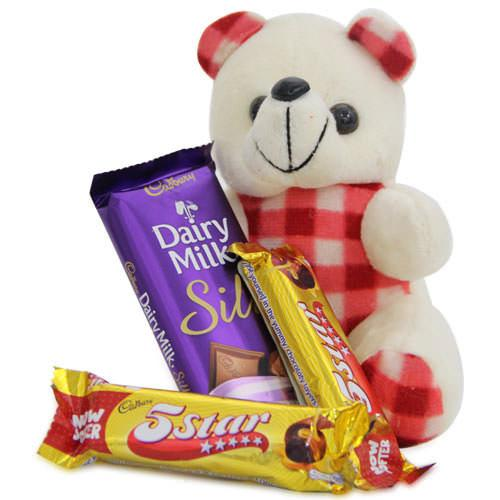 Combo of chocolates and cute teddy bear of red and white color with 2 '5 start' and a dairy milk - Expressluv.in