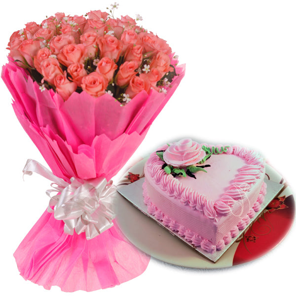 Strawberry Cake & Red Roses  - Expressluv.in