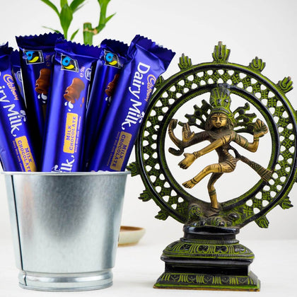 Natraj Brass Statue 8Inch with Chocolates- FOR AUSTRALIA