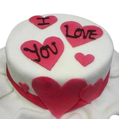 I Love You Cake with heart for valentine  - Expressluv.in